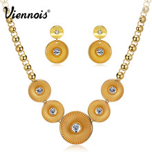 Viennois Classic Gold Color Round Jewelry Set For women Rhinestone Chain Necklaces Dangle Earrings Bridal Wedding Party Set(China)