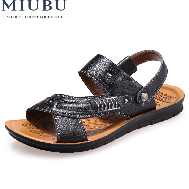MIUBU 2018 Summer Big Size Mens Sandals British Fashion Leather Beach Shoes Mens Casual Massage Non-Slip Large Slippers Flats