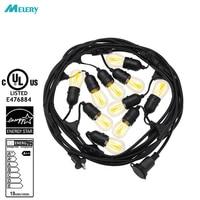 LED String Lights Holiday Light E26/E27 Decorative 48Ft 15 Bulbs Outdoor Landscape Lighting 110V/240V Christmas Light String