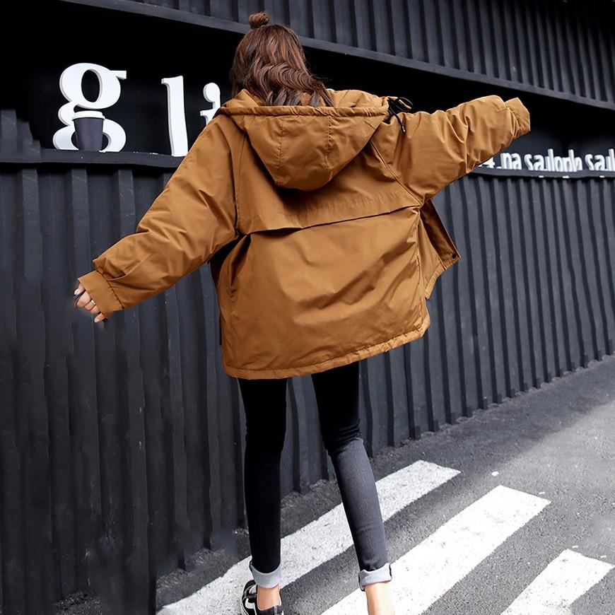 2018 Vers Manteau Nouvelle Hiver Casual Noir fu Mode Gu Outwear Court Bas Surdimensionné Femmes Le Capuchon Pour Femelle Tang Lâche jiao Épais Q187 Se Hong Parkas À Vestes Coton wqRUEIax