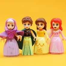 Friends Princess Belle New  Building Blocks compatible toys Children gift Anna Elsa Mermaid Ariel Snow White Aurora
