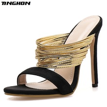 TINGHON  Flock Fashion Sexy Summer Ladies Slipper Shallow Party Thin Hight Heel Women Shoes Sliver Gold Wear For Outside