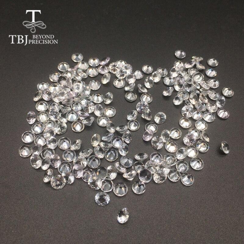 TBJ, chauffé Naturel Sri Lanka saphir blanc round4.5mm, pierres précieuses en vrac pour 925 sterling bijoux d'argent ou d'or de montage