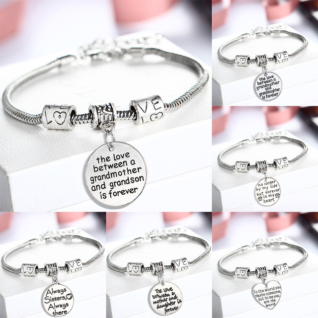 344476a7b Family Mom Daughter Love Pendant Pandora Charm Bracelets & Bangles For Mother's  Day Jewelry Gifts