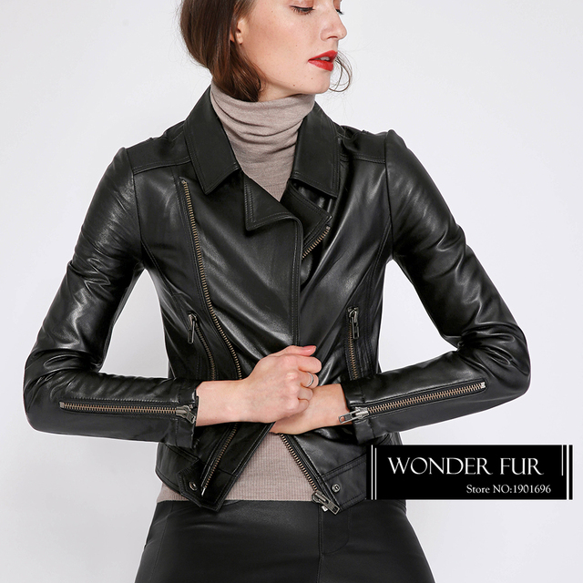 d08a99d1689 Spring Fashion New Zealand Sheepskin Biker Jacket Cool Girls Genuine  Leather Motorcycle Coat Sheep Leather Garment Bright Style