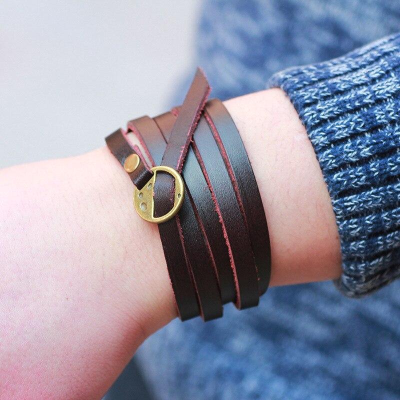 New Arrival Vintage Brown Genuine Leather Wrap Bracelet Multilayer Bracelets For Women Men Erkek Bileklik In From Jewelry Accessories On