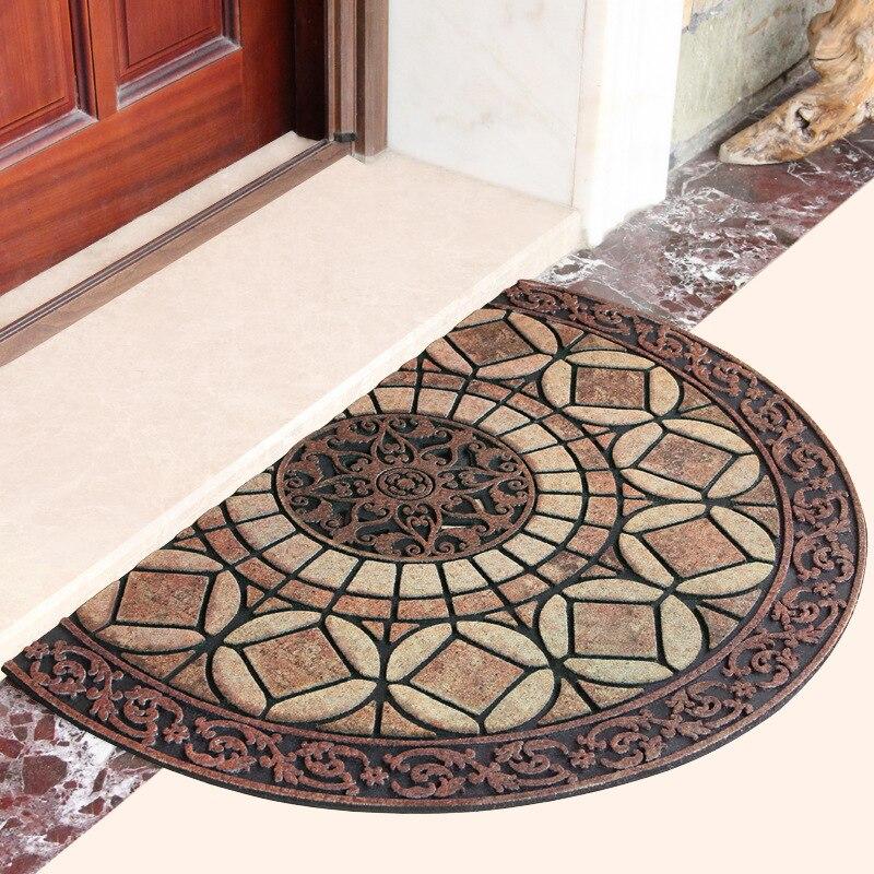 Tapis en caoutchouc européen hall d'entrée à la porte tapis de porte semi-circulaire en argile imperméable antidérapant tapis de sol deraction