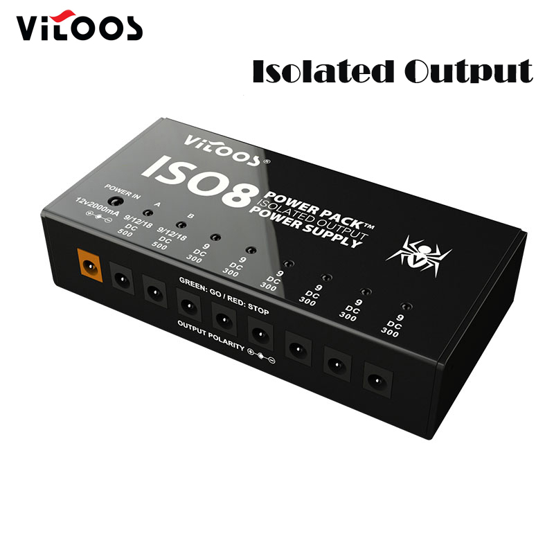 Vitoos ISO8 Isolated Output Power Supply Mute Noise-reduction Portable Guitar Effects Pedals Power Supply with Multi Way
