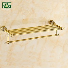 Fixed Bath Towel Bar    Towel Racks free shipping towel racks luxury bathroom accesserries golden finish bath towel shelves towel bar bath hardware db008k 1