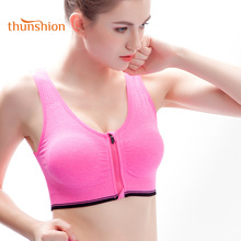 THUNSHION 2018 Sommer Ny Sport Yoga Bra Topp Kvinners Glidelås Lukking Atletisk Gym BH Push Up Breathable High Impact Running Bra