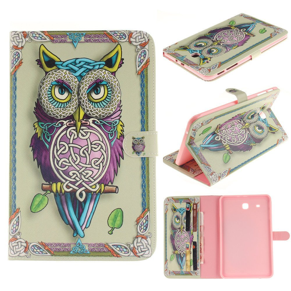 Tab E 9.6 Inch T560 Cover Cute Owl Premium PU Leather Wallet Flip Case For Samsung Galaxy TAB E 9.6 SM-T560 T561 Tablet yh printed flip stand skull cute owi leopard pu leather cover case for samsung galaxy tab e 9 6 inch tablet t560 t561 sm t560