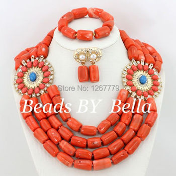 What A Surprise ! 2017 New 4 Rows Orange Coral Beads Jewelry Sets Fashion Wedding African Jewelry Set Hot Free Shipping ABS109