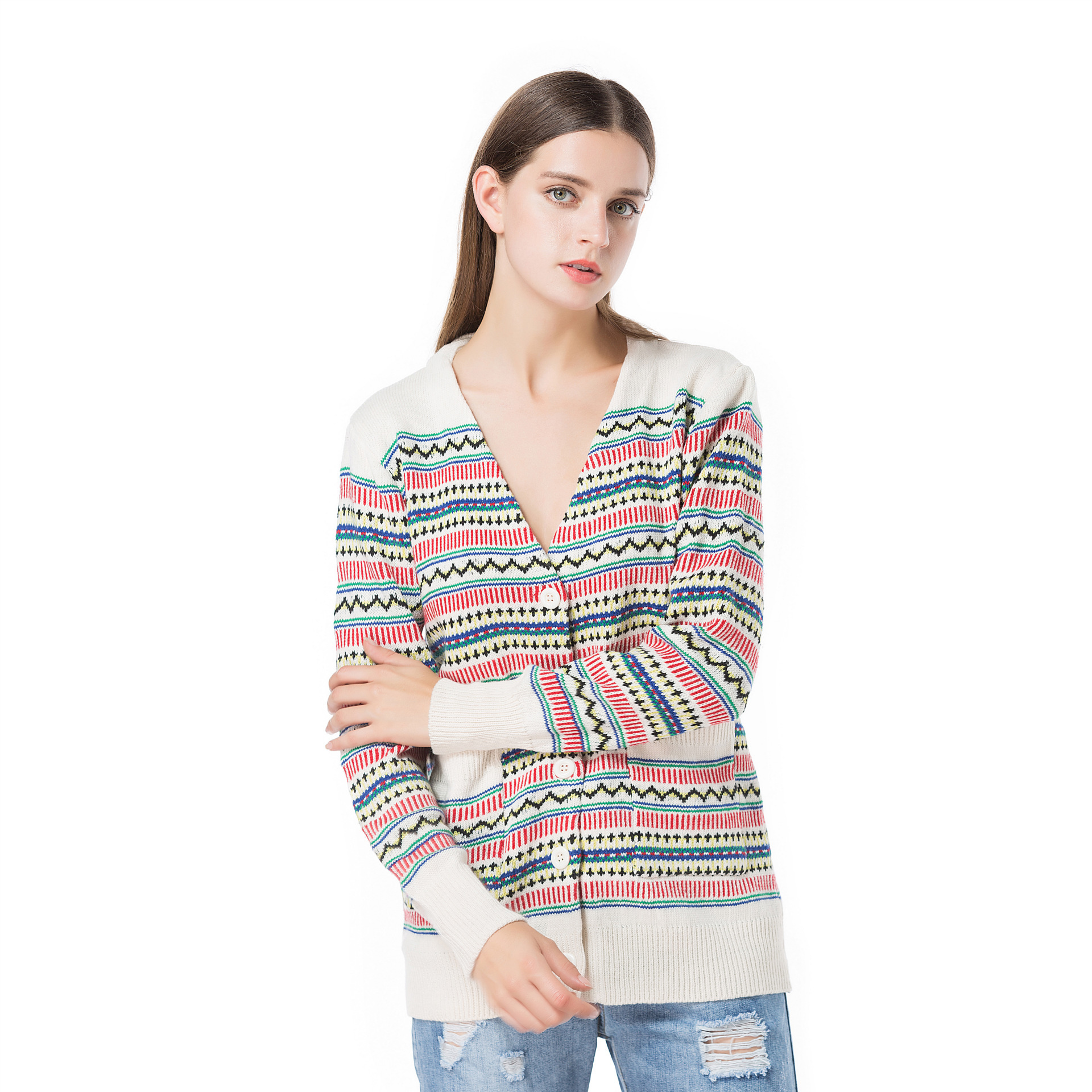 Oversized Vintage V Neck Winter Autumn Women Sweater Christmas Holiday Pocket Single Breasted Female Button Outwear Top Cardigan