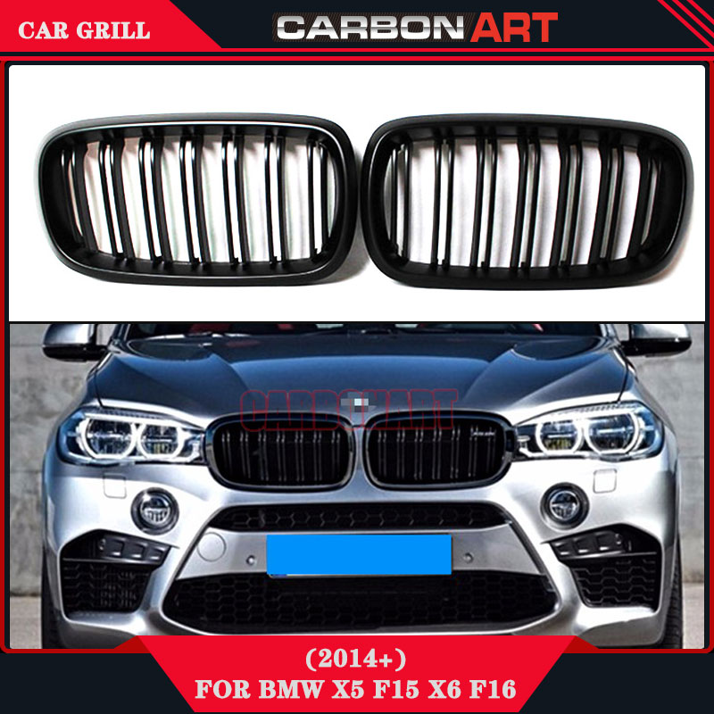 New Design X5 X6 f15 f16 ABS replacement front grille black bumper radiator grill mesh For bmw X series 35i 50i 2015 2016 carbon fiber car rear bumper extension lip spoiler diffuser for bmw x6 e71 e72 2008 2014 xdrive 35i 50i black frp
