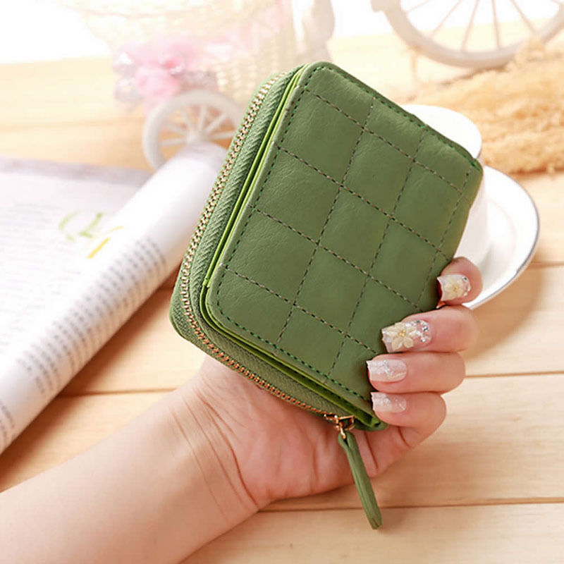 THINKTHENDFashion Girls Women Zipper Hasp Short Mini Plaid PU Leather Bifold Wallet Zipper Clutch Card Holder Purse Lady Handbag women purse solid color mini grind magic bifold leather wallet card holder clutch women handbag portefeuille femme dropshipping