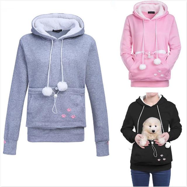 1f015e0de Women Pullover Hoodies With Cat Dog Pet Holder, Unisex Big Kangaroo Jacket  Pouch Carriers Winter Long Sleeve Maternity Sweater