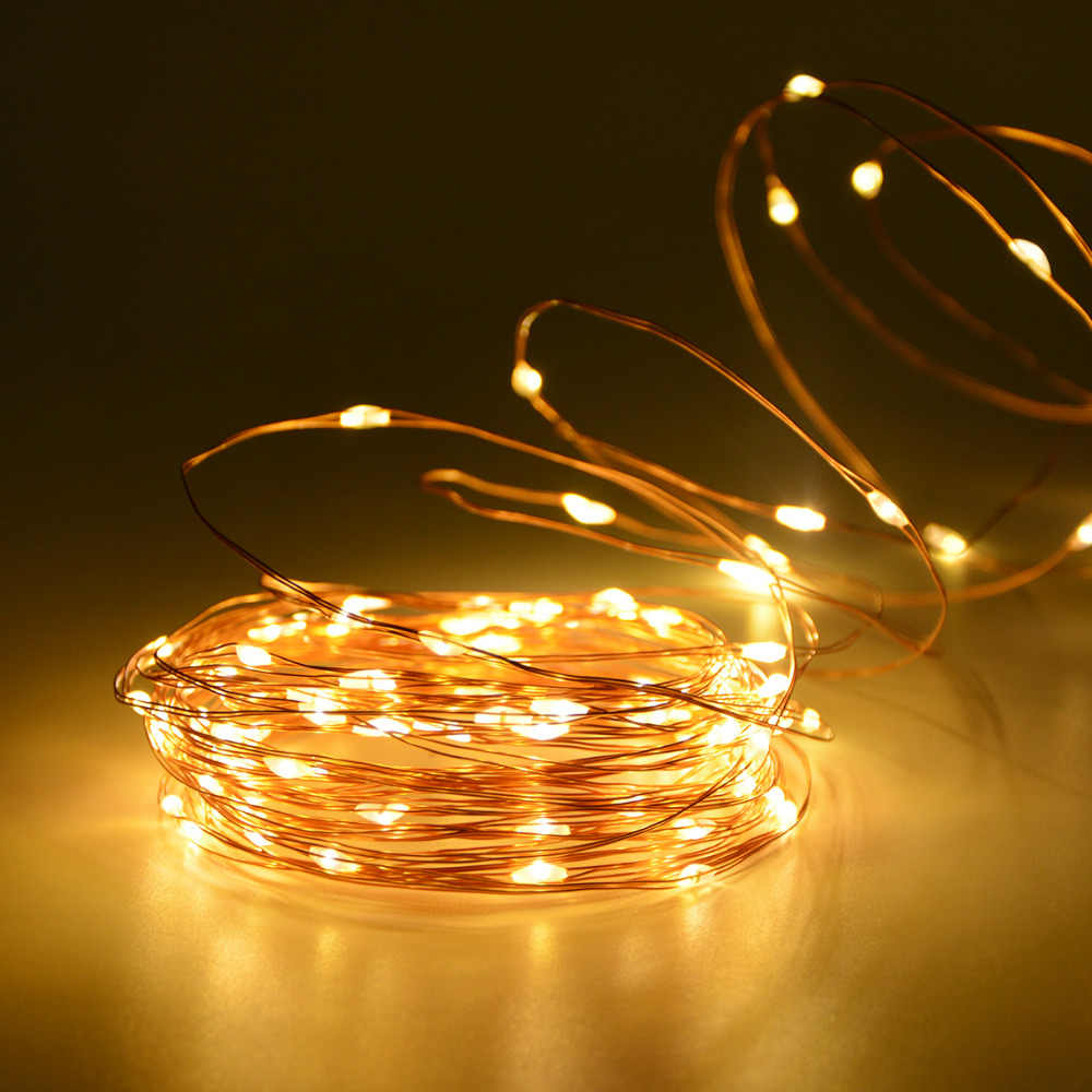 new styles 1c58f ec186 2M 5M 10M 20M Copper Wire LED String Light Christmas Fairy Lights Garland  Holiday Party Solar Night Lighting Battery Powered USB
