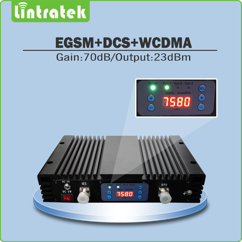 70dB Lcd Display Mobile Signal Repeater EGSM 900MHz & DCS 1800MHZ & 3G WCDMA 2100MHz Triple Band Signal Booster With AGC/MGC