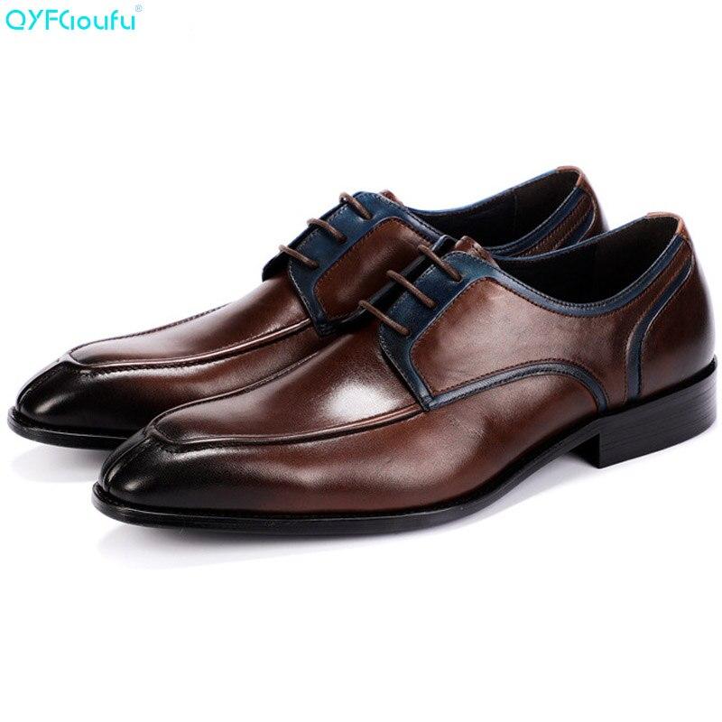 QYFCIOUFU Italian Fashion Men Dress Shoes Genuine Leather High Quality Cow Leather Black Brown Luxury Classic Shoes OxfordQYFCIOUFU Italian Fashion Men Dress Shoes Genuine Leather High Quality Cow Leather Black Brown Luxury Classic Shoes Oxford