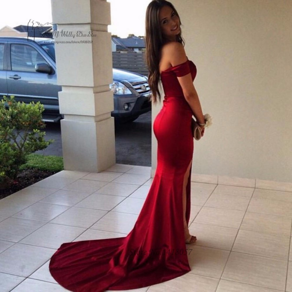 b72a718af57 Sexy Red Celebrity Dresses off Shoulder Satin Mermaid Formal Evening Gowns  Split Simple Prom Dress Cheap Sweep Train Vestidos. P3659 (1) P3659 (2)  P3659 (3)