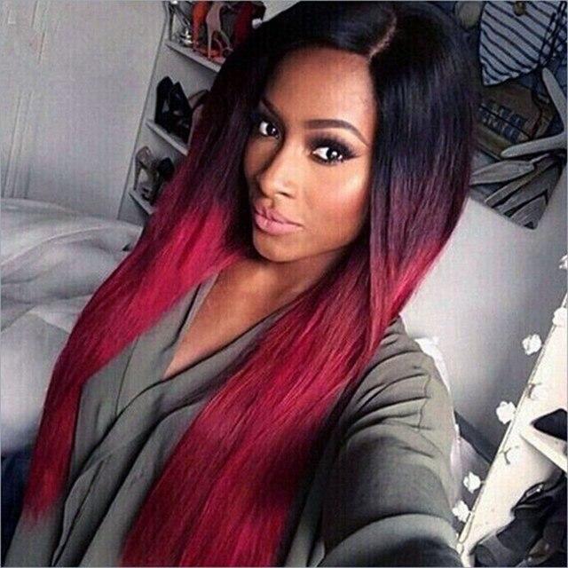 28   de Largo Rojo Ombre Pelucas de Pelo Para Las Mujeres Negro Natural  Peluca Femenina Barato Sintético Borgoña Pelucas de Pelo Sintético Negro ... 5e7ef0f28473
