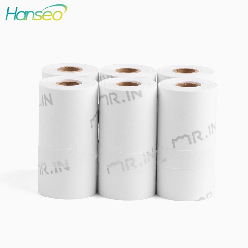 6 Rolls Thermal Paper White Color Adhesive Photo Paper Sticker 53x30mm For Phomemo Portable Bluetooth Pocket Printer