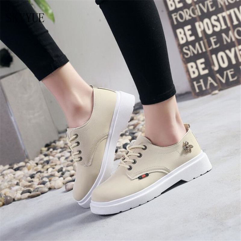 2018 PU Leather flat shoes women Lace up Platform Loafers Flats Soft Comfortable Flat Shoes Woman Casual Shoe cresfimix zapatos women cute flat shoes lady spring and summer pu leather flats female casual soft comfortable slip on shoes
