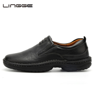 2016 New Fashion Men Shoes Full Grain Leather PU Sole Black Non Slip Waterproof Casual Shoes