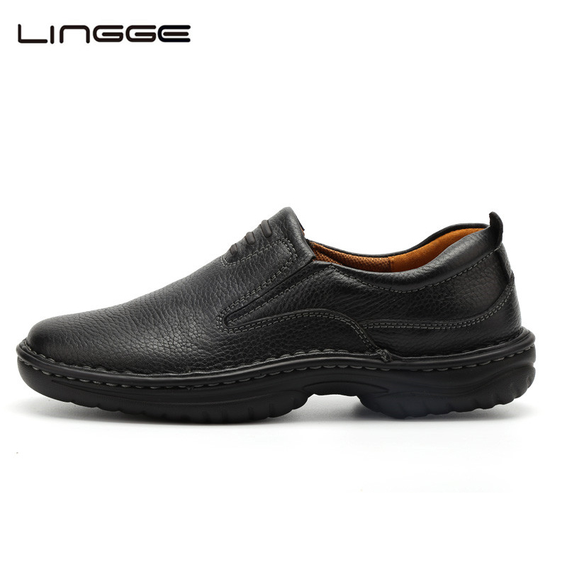 LINGGE Mens Dress Shoes Full Grain Leather Official Formal Shoes Men's Leather Shoe Handmade Oxfords Light Moccasins #8802-8 top quality crocodile grain black oxfords mens dress shoes genuine leather business shoes mens formal wedding shoes