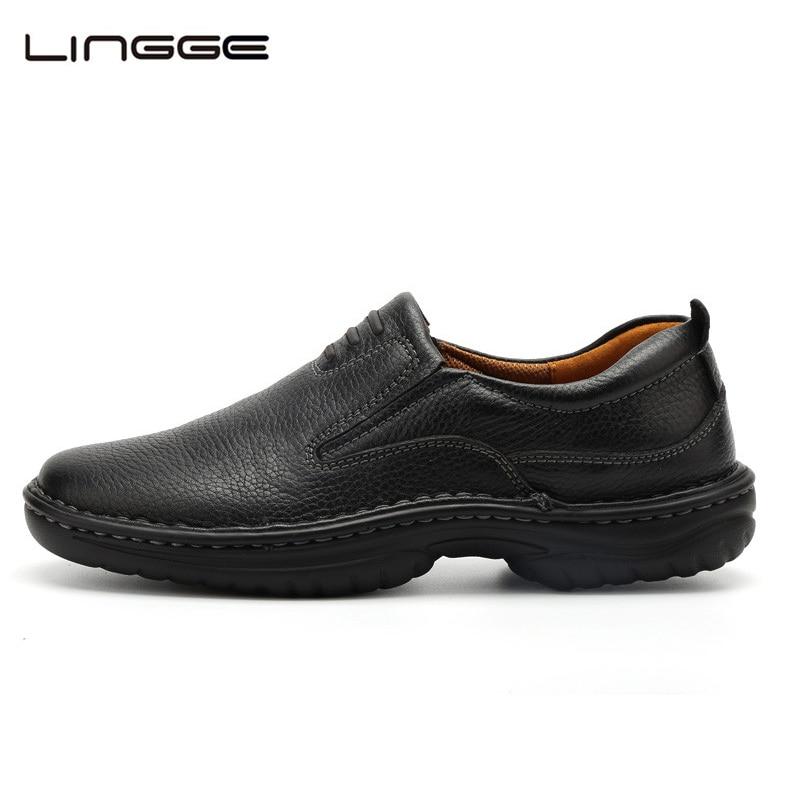 LINGGE Mens Dress Shoes Full Grain Leather Official Formal Shoes Men's Leather Shoe Handmade Oxfords Light Moccasins #8802-8