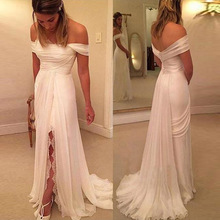 Off Shoulder Boat Neck Long Wedding Dresses A Line Chiffon Sleeveless Front Slit Bridal Dress with Buttons Vestido De Noiva