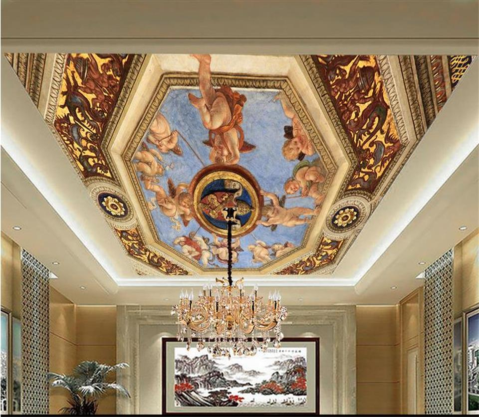 3D wallpaper custom size photo living room hang ceiling mural European style angel 3d painting non-woven wallpaper for wall 3d ceiling non woven wallpapr home decoration wallpapers for living room 3d mural wallpaper ceiling customize size
