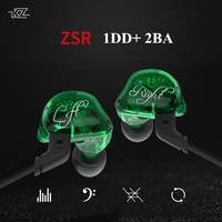 KZ ZSR 2BA DD Hi FI Earphone Armature With Dynamic Hybrid Earbuds In Ear HIFI Bass