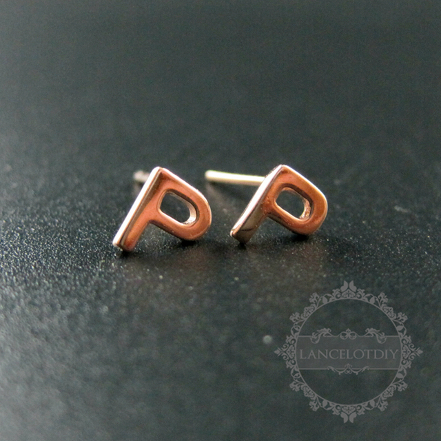 5x6mm Letter P Initial Alphabet Solid 925 Sterling Silver Earrings Studs 1703018