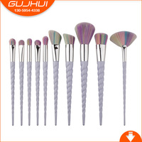 10 Unicorn Make Up Brushes New Spiral Thread Ox Horn Makeup Brush GUJHUI Brush