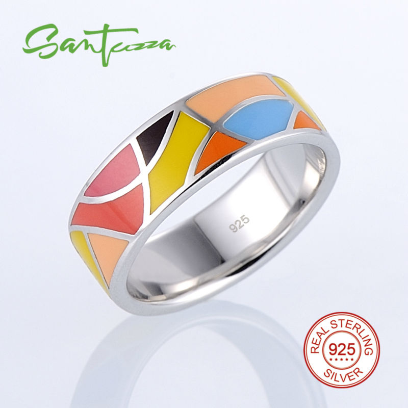 Silver Rings for Women Lord of the Ring HANDMADE Colorful Enamel Ring Pure 925 Sterling Silver Female Ring Party Fashion Jewelry the realm of clans anime ling yu qinlie 925 sterling silver ring comics cartoon