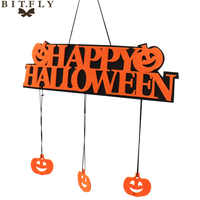 Decoración de fiesta de Halloween feliz HALLOWEEN colgante etiqueta ventana decoración de puerta Placa de Halloween calabaza colgante tiras
