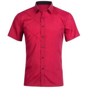 7111f2fa9 oioninos Men Cotton Short Sleeves Dress Shirt Black White