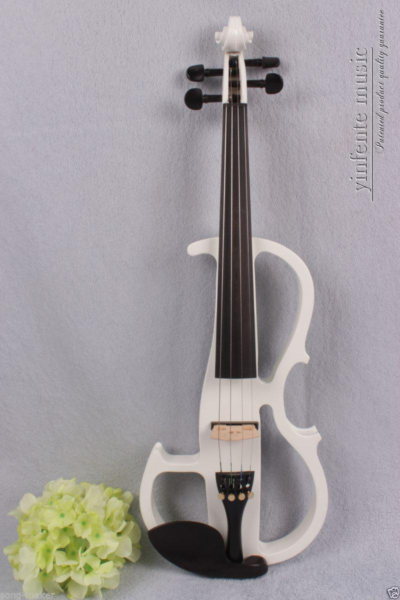 New 4/4 Electric violin Powerful Sound silent ebony parts peg white #1377 002208 4 string 3 4 new electric upright double bass finish silent powerful sound