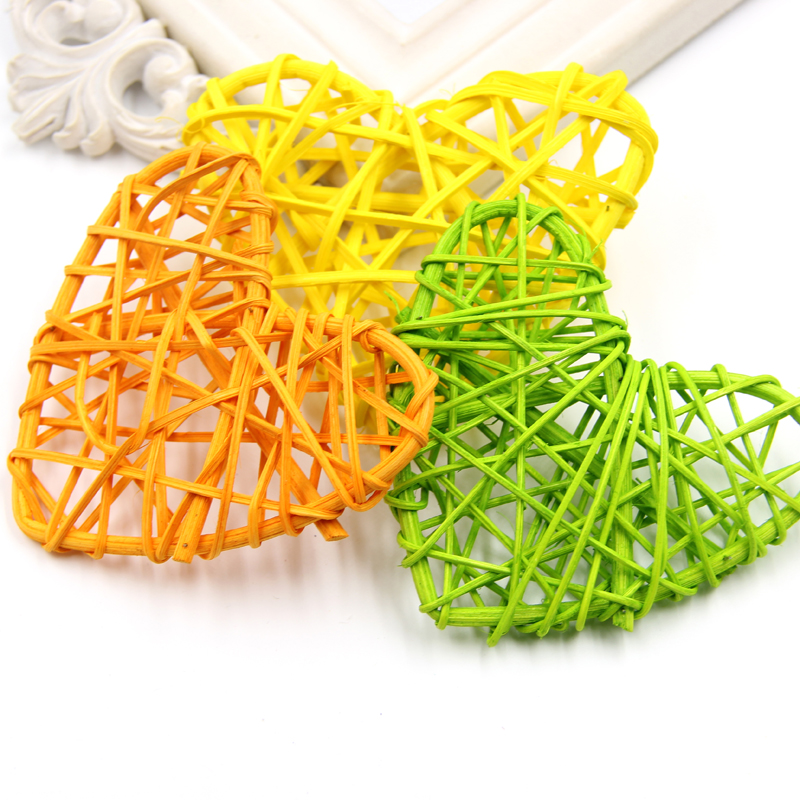 Home Decor Flags, Banners & Accessories 10pcs 13cm Lovely Rattan Heart Shape Sepak Colorful Diy Takraw Ball Craft Decor For Home Kindergarten Shop Customers First