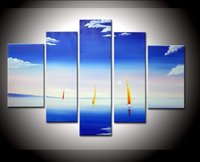 Hand Painted Artwork The White Clouds Sailing Boat High Q Wall Decor Landscape Oil Painting On