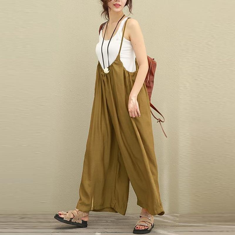 2018 Hot Sale Women Wide Leg Jumpsuits Solid Vocation Casual Cotton Linen Long Trousers Stylish Ladies Rompers Plus Size S-5XL 1