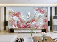 [Self Adhesive] 3D Jade Carved Pink Lotus Fish Pond 32 Wall Paper mural Wall Print Decal Wall Murals