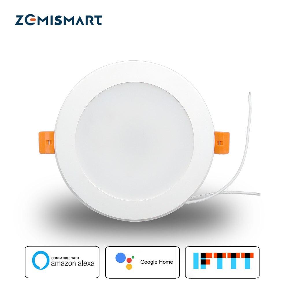 Zemismart 4 polegada WiFi RGBW Led Downlight Alexa 10w Controle de Voz Echo Local Dot Mostrar Google Home Assistente IFTTT casa de Automação