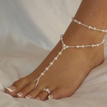 New fashion Women Ankle Bracelet Beach Barefoot Sandal Simulated-pearl tornozeleira feminina Foot Jewelry Anklet Chain SWXFR93.