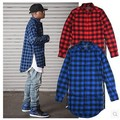 New Extended Long High Low Side Zipper Unisex Man Swag Shirt Tshirt T Shirt Hip Hop Men Streetwear Hem Plaid Blue Red