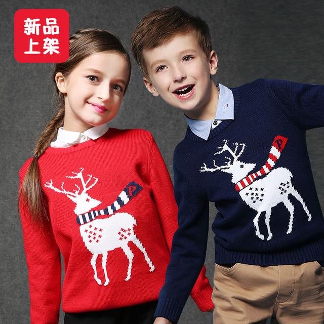 2016 Muchachas Del Invierno Muchachos de la Ropa Que Hace Punto del Suéter de Los Niños de Dibujos Animados de Navidad de Papá Noel Ciervos H00141
