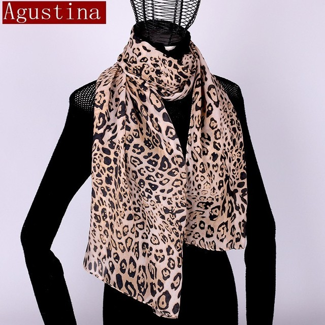 Women scarf chiffon leopard print sjaal poncho scarfs winter hijab shawl animal brand luxury satin ponchos capes coat warm schal 3