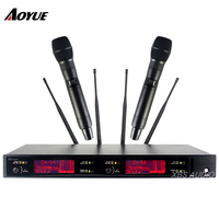 AOYUE профессиональный ручной Long distance приема сигнала 2 канала UHF беспроводной микрофон
