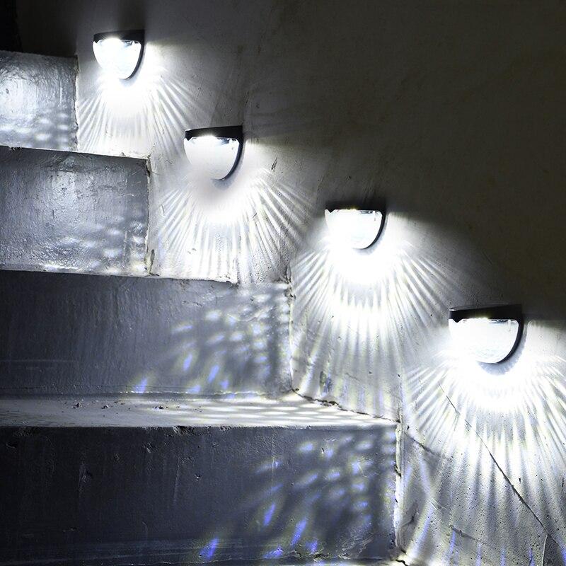 Solar Led Lamp Panel Fence Wall Light Mini Post Lights Garden Mount Decorative Deck Lighting
